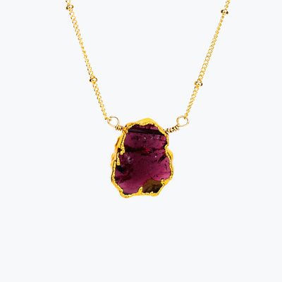 Natural Garnet Slice Necklace with Organic Profile