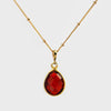 Garnet Quartz bezel station Necklace - January Birthstone