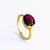 Oval Garnet Quartz Ring - January Birthstone