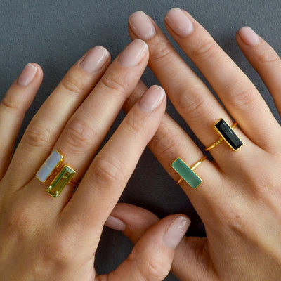 Green Tourmaline Bar Ring, Unique Geometric Ring