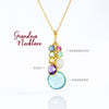 Grandmother Pendant Necklace with Mother, Children and Grandchildren Birthstones