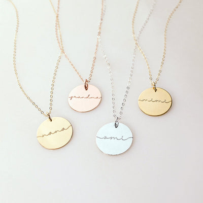 Custom Grandma Disc necklace, Custom Engraved Necklace Gift for mom