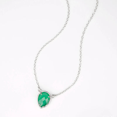 Green Onyx Upside Down Teardrop Station Necklace