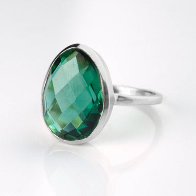 Emerald Green Tourmaline Oval Ring