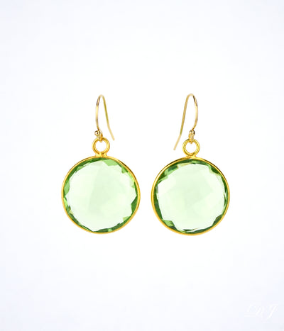 Green Amethyst large round Vermeil Gold or Sterling Silver bezel set Earrings - February Birthstone