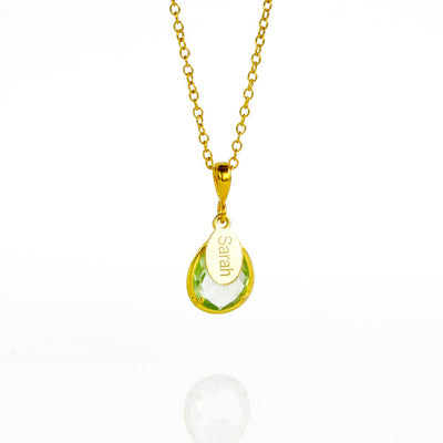 February Birthstone & Name Necklace : Green Amethyst