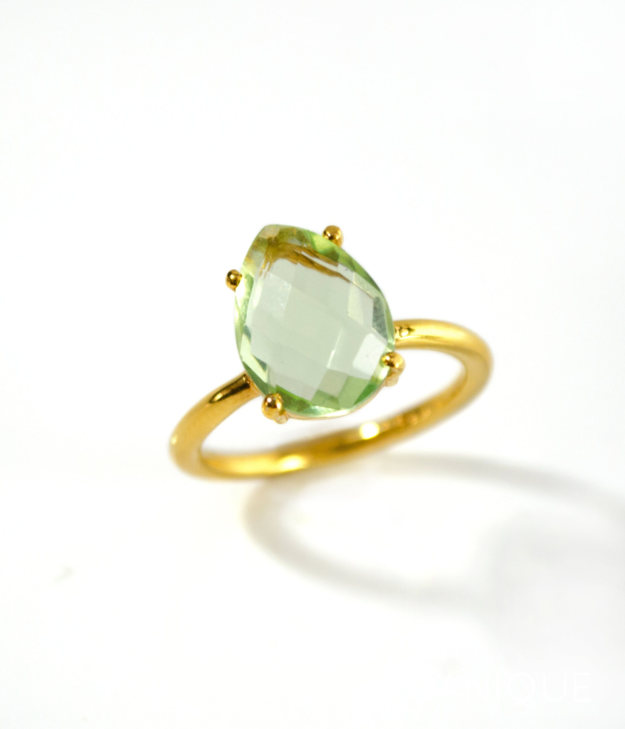 February Birthstone ring Vermeil Gold or Sterling Silver Green Amethyst Pave Ring