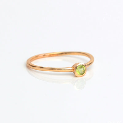 Dainty Stackable Green Amethyst Ring : February Birthstone