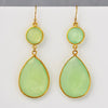 Green Chalcedony Double Drop Earrings - August Birthstone