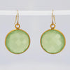 Green Chalcedony large round Vermeil Gold or Sterling Silver bezel set Earrings
