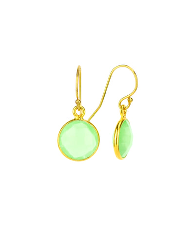 Green Chalcedony bezel set Earrings  - August Birthstone