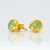 Green Chalcedony Small Round Bezel Set Stud Earrings - August Birthstone Earrings