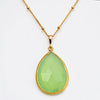 Green Chalcedony large faceted teardrop bezel station Necklace - August Birthstone