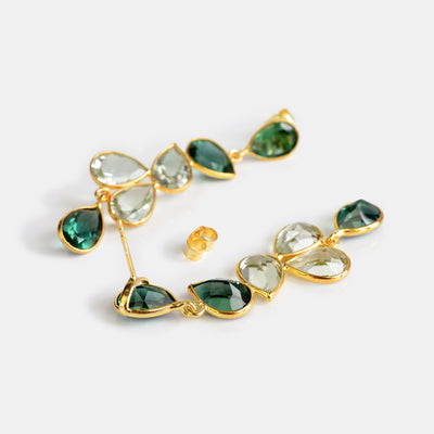 Elegant Tourmaline and Green Amethyst Statement Earrings