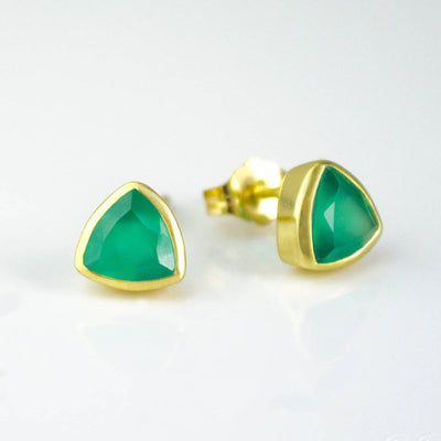 Small Green Onyx Triangle Studs, Everyday Earrings