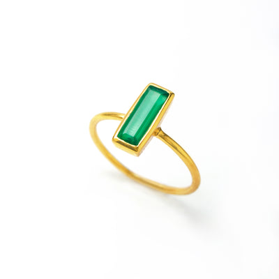 Tiny Green Onyx Bar Ring : May Birthstone