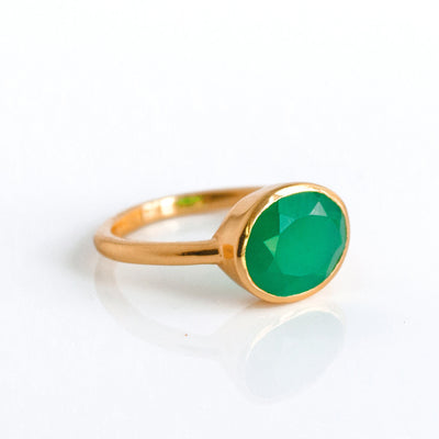 Green Onyx Oval Ring - May Birthstone