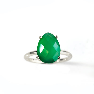 Green Onyx Teardrop Ring - May Birthstone