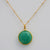 Green Onyx large round bezel station Necklace - May Birthstone