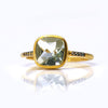 Green Amethyst Pave Ring - February Birthstone