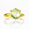Green Amethyst Round Prong Set Ring - February Birthstone