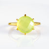 Green Chalcedony Round Prong Set Ring - August Birthstone