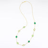 Long Green Onyx, Green Chalcedony, Green Amethyst bezel station necklace