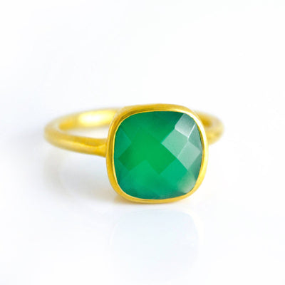 Green Onyx Cushion Ring - May Birthstone