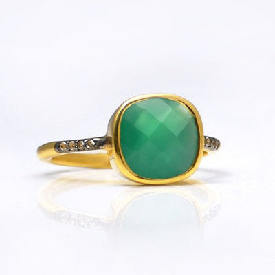 Green Onyx Pave Cushion Ring - May Birthstone
