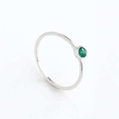 Dainty Stacking Green Onyx Ring, May Birthstone