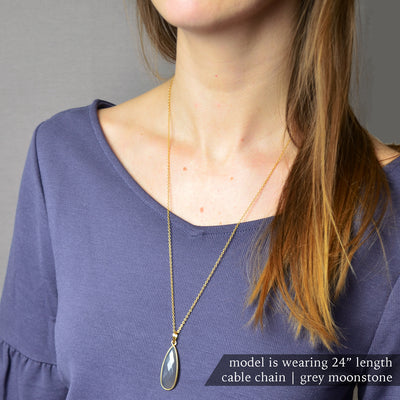 Grey Moonstone Elongated Teardrop Pendant Necklace