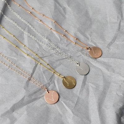 Gemini Constellation Necklace with Monogram Engraving on Back