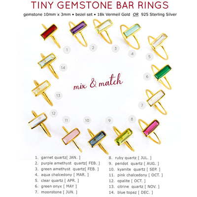 Tiny Clear Quartz Bar Ring : April Birthstone