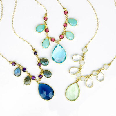Large Birthstone Cluster Necklace with Blues, Aquamarines, and Reds