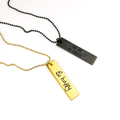Personalized Rectangle Dog Tag Necklace, Custom Military Style Jewelry