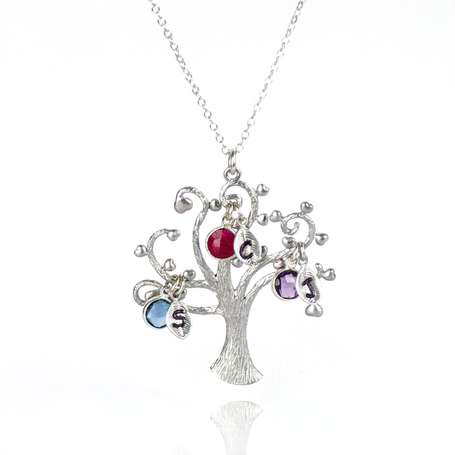 Family Tree Necklace With Kids Birthstones Amp Initials