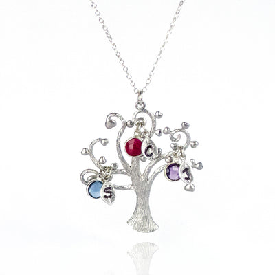 Family Tree Necklace with Kids Birthstones & Initials