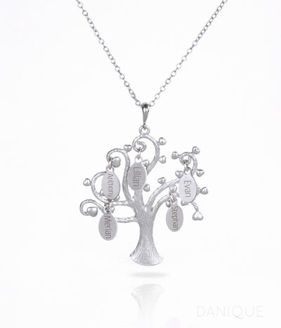 Family Tree Necklace with Kids Names