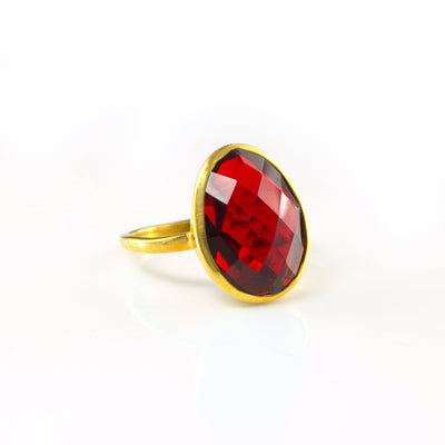 Large Garnet Teardrop Oval Ring
