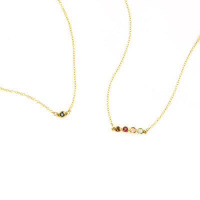 Tiny Birthstone Bar Necklace : Available in All Birthstones