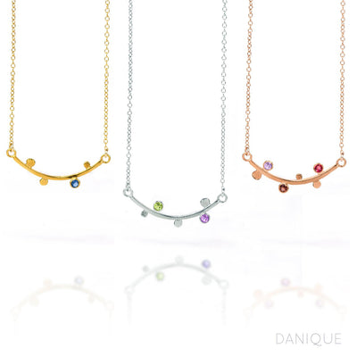 Mom Curved Bar Necklace with Kids Birthstones