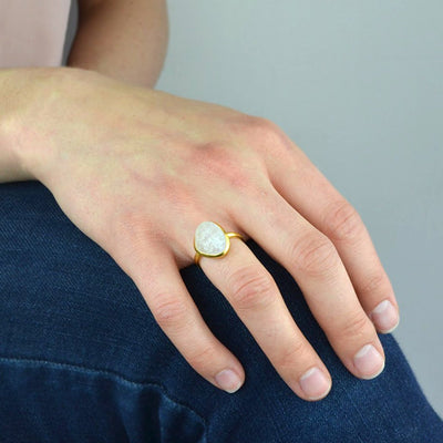 Rough Cut Rainbow Moonstone Ring