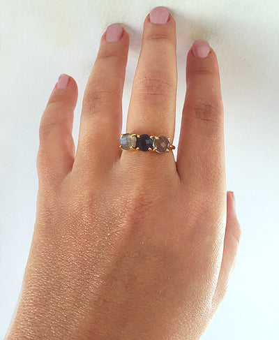 Personalized Mother's Ring with Three Birthstones