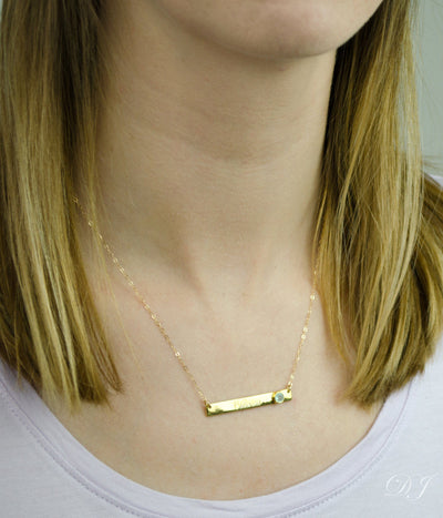 Personalized Gold Bar Necklace with Bezel Birthstone