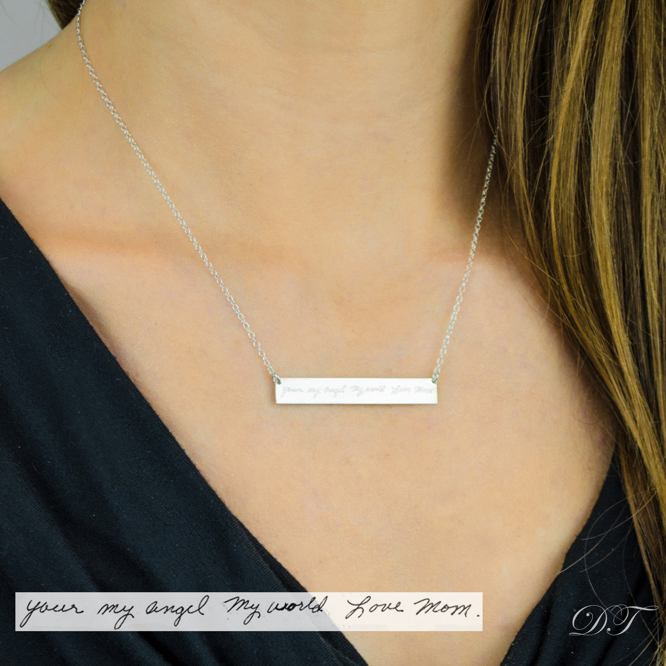 8350286de7cf3 Large Engraved Bar Necklace - Sterling Silver or Gold-Plated, Custom Bar  Necklace