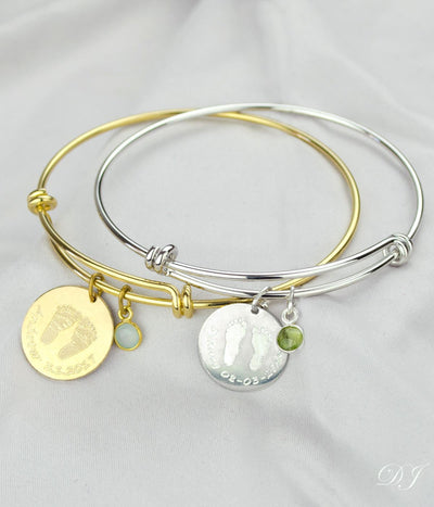 Child's Footprint or Handprint Bangle with Tiny Birthstone Charm