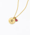 Paw Print Disk Necklace with Birthstone Charm
