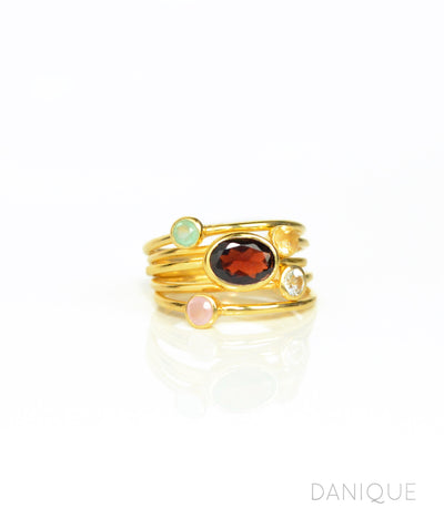 5 ring stacking set mom and kids set garnet oval ring aqua chalcedony citrine clear quartz pink chalcedony round stone rings yellow gold plated