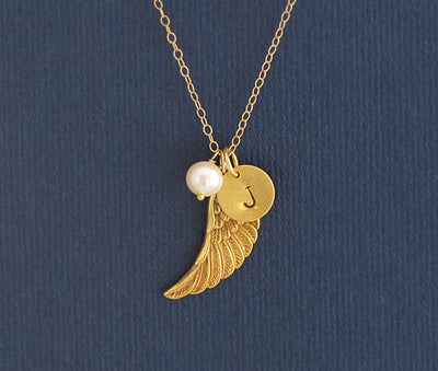 Personalized Angel Wing Charm Necklace with Freshwater Pearl - Remembrance Memory Necklace - Swarovski Crystal