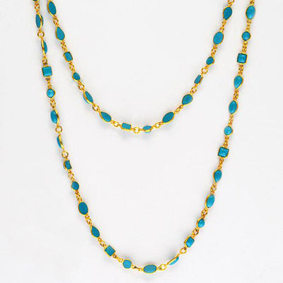 Natural Turquoise Long Station Necklace - December Birthstone